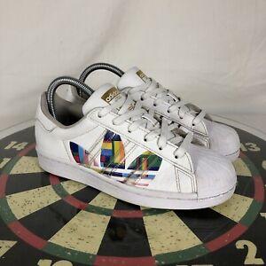 Adidas Superstar Pride White Men's Originals Shoes FY9022 Sz 5 (W6.5) Rainbow