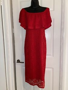 By Very Red Party cocktail Maxi Cold Shoulders Dress Size 14 Stretch