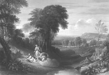 NAKED NUDE GIRLS IN FOREST CLAUDE LORRAIN Pastoral LANDSCAPE Art Print Engraving
