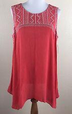 NWT Style & Co Dark Rose Embroidered Handkerchief Hem Sleeveless Top Large L NEW