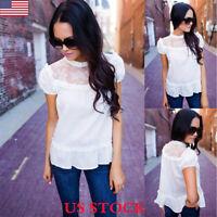 Womens Chiffon Lace Short Sleeve Casual T-Shirt Ladies Summer Loose Tops Blouse