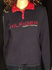 Tommy Hilfiger Jeans Embroidered Spell Out Womens XL Blue Long Sleeve Pullover