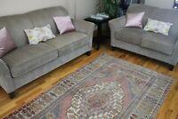 Vintage,Turkish Rug,Contemporary Oushak Handwoven Wool  Carpet 4'6'x7'2 RDM