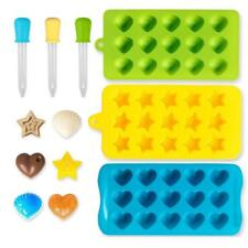 Gummy Candy Mold Candy Ice Chocolate Maker Silicone 3 Pack with 3 Droppers