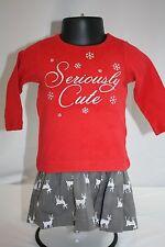Baby Girl 2 piece Shirt 9 mo Skirt 6 mo Seriously Cute Deer Bling Red Gray