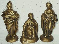 "VINTAGE ATLANTIC MOLD LARGE GOLD THREE KINGS 2-7 1/2""H,WISEMEN FOR NATIVITY SET"