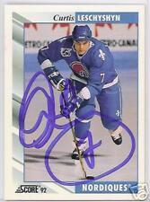 CURTIS LESCHYSHYN Quebec Nordiques SCORE 1992   AUTOGRAPHED HOCKEY CARD JSA