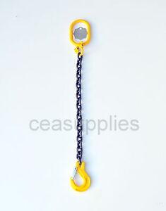 8mm Lifting Chain Sling 1 Leg 2 ton EWL 1.5 Metre Clevis Sling Hook Tow ID TAG
