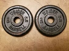 Vintage Weider Standard Size Barbell Weights - Two 3 Lb Plates 3lb cast iron