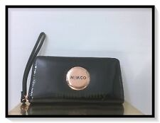 Mimco LARGE MIM ZIP WALLET CLUCTH PURSE BNWT RRP$249 Black Rosegold