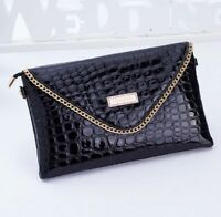 Black Gold Ladies Clutch Evening Strap Bag Summer Fashion Design Snake Print