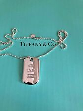 Tiffany & Co Sterling 1837 dog tag necklace pendant on 18' Tiffany beaded chain