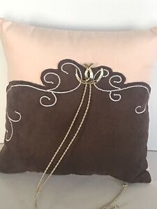 Brown and Pink Retro Western Ring Pillow with Gold and Rhinestone Horseshoe