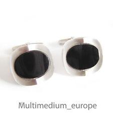 Silber  Manschettenknöpfe mit Onyx 70er Jahre silver cuff links 70s