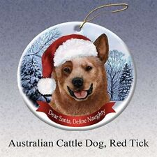 Holiday Pet Gifts Australian Cattle (Red) Santa Hat Dog Porcelain Ornament