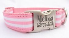 Nylon Dog Collar Personalized Laser Engraved Buckle Pink Striped One Inch Wide