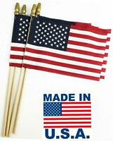 "American U.S.A. Flags 4"" x 6"" Set of 12 on wood stick Patriotic  Made in U.S.A."