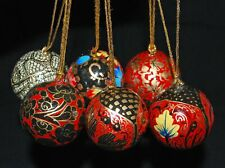 Nuevo Pintado a Mano Navidad nepalés Baubles X 6-hippy boho chic étnico ético