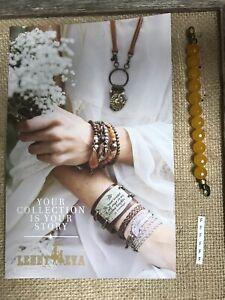 "New Lenny & Eva Jewelry Beaded Claw Link Bracelet Sentiment Deep Yellow ""F"""