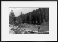 c1911 photograph of Trukee River, Lake Tahoe, California Summary: Man fishing in