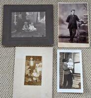Lot of 4 Vintage Antique Black & White Cabinet Photos Babies Children