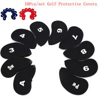 10pcs Neoprene Golf Club Putter Head Cover Wedge Iron Protective Headcovers Set