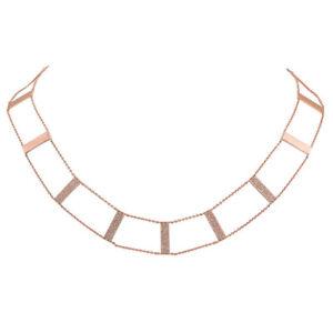 Womens 0.71CT 14K Rose Gold Natural Diamond Step Ladder Design Collar Necklace