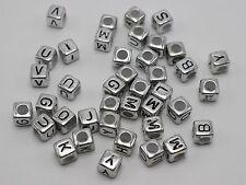 250 Assorted Silver Metallic Acrylic Alphabet Letter Cube Pony Beads 6X6mm