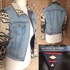 "MAISON SCOTCH Amsterdam Blauw Blue Denim Jacket Sz 1 10 NAVAJO Aztec Print L20"""