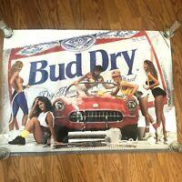 1990 Vtg Budweiser Bud Dry Poster Advertising 36 X 26 Car Wash Girls Corvette