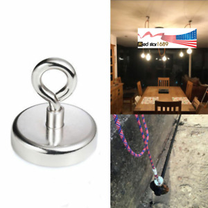 150LB Super Strong Fishing Magnet Neodymium Round Thick Eyebolt For Hunting