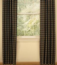 Country Cambridge Lined Panel Curtains 72WX84L Barn Red Black Golden Tan Plaid