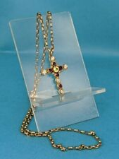 14k gold cross pearls, amethyst,peridot suffragette colours on 9ct chain