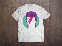 David Bowie Men White T-shirt Rock Tee Shirt Ziggy Stardust