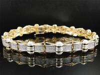 12Ct Round Brilliant Cut Diamond Mens Statement Bracelet 14K Yellow Gold Over