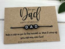 Love You Dad Happy Father's Day Letter Tie Wish Bracelet Message Card UK Seller