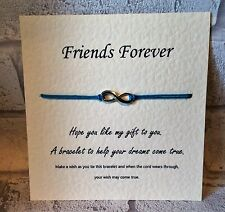 Infinity Tibetan Silver Charm Wish Bracelet & Card. Best Friend Sister Mum Gift