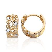 14k Yellow gold Round Cut CZ Huggie Hoop Earrings