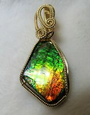 Multi-Colored Canadian Ammolite Gemstone Pendant Slide Handcrafted in 14K GF