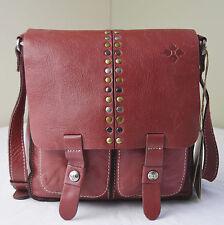 Patricia Berry Red Vintage Leather Stud Armeno Messenger Crossbody