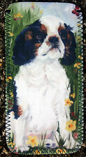 KING CHARLES SPANIEL tri DOG DESIGN GLASS CASE POUCH SANDRA COEN ARTIST PRINT