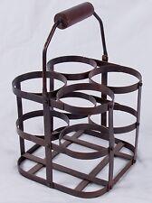 Metal 4 Bottle Wine Caddy - Vintage style Bronze Finish with Folding Wood Handle
