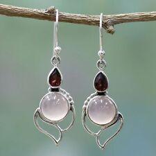 Pear Ruby Rose Quartz Gemstones Drop Dangle Hook Earrings Wholesale
