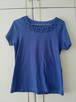 BM WOMENS BLUE SHORT SLEEVE BLOUSE TOP SIZE 14 M STRETCH CREW PIT TO PIT 20 INCH