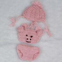 "Cute Pig Knitted Top Hat Underpants Clothes for 10-11"" Reborn Baby Girl Doll"