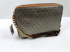 Michael Kors Large EW Crossbody Metallic Signature Acorn Pale Gold NWT