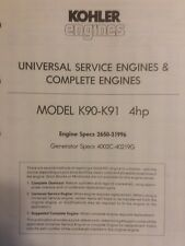 Kohler K90 K91 Engine 4 h.p Specifications Manual Lawn Riding Tractor Generator