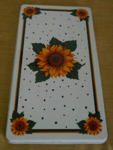 2 Piece Country Sunflower GAS Stove Top Rectangle BURNER COVERS White Yellow