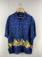 Puritan Men's Vintage Short Sleeve Hawaiian Shirt - Blue - Size Large