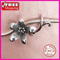 Genuine 925 Sterling Silver Flower Troll Anemone Pendant Charm European Beads